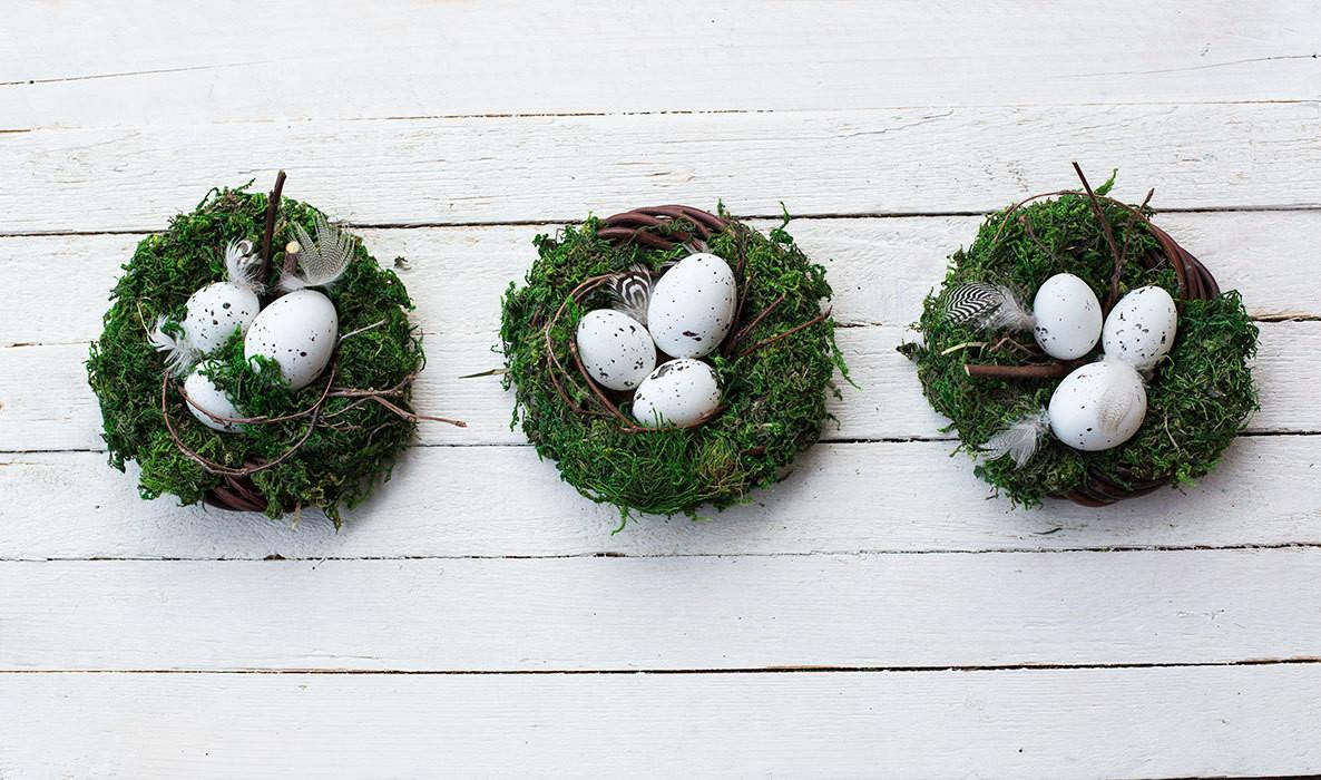 Easter Nest Moss Table Centerpiece Eggs Rustic
