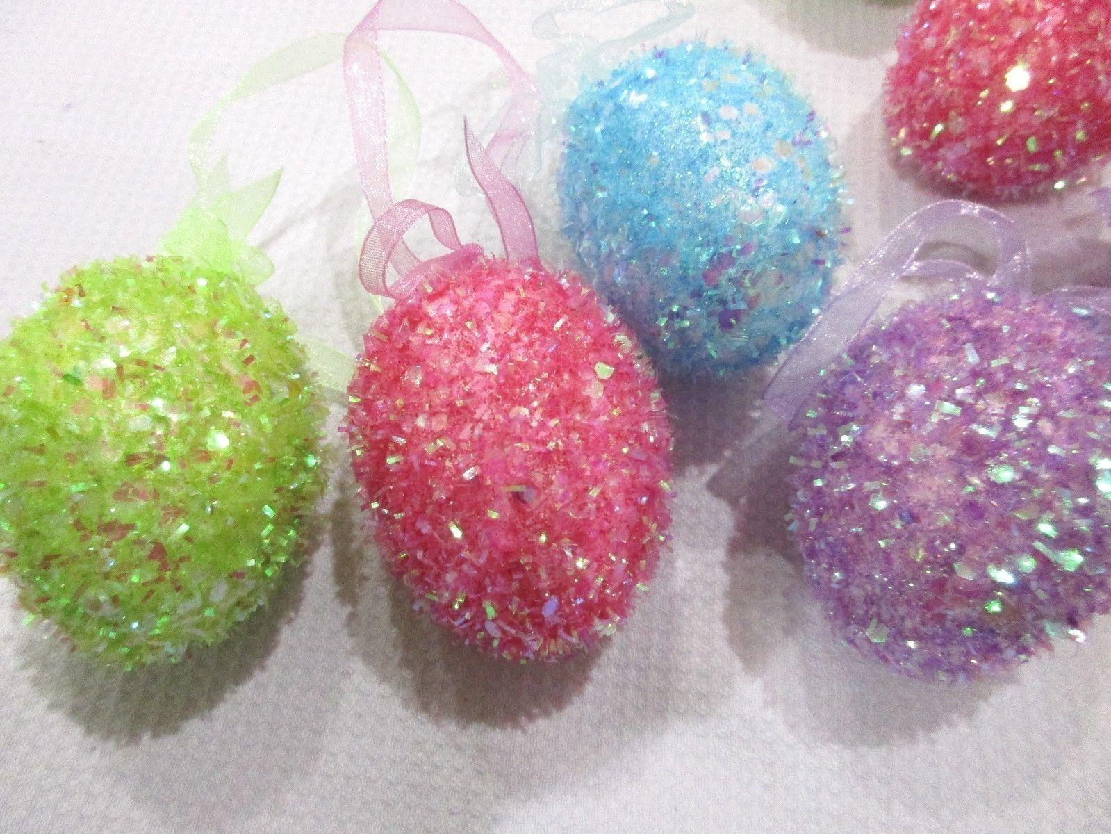 Easter Pastel Sparkle Egg Ornaments Tree Decorations