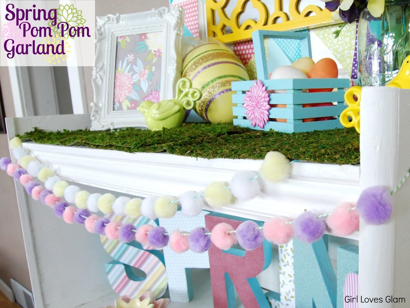 Easter Pom Garland Dollar Store Craft Girl Loves Glam