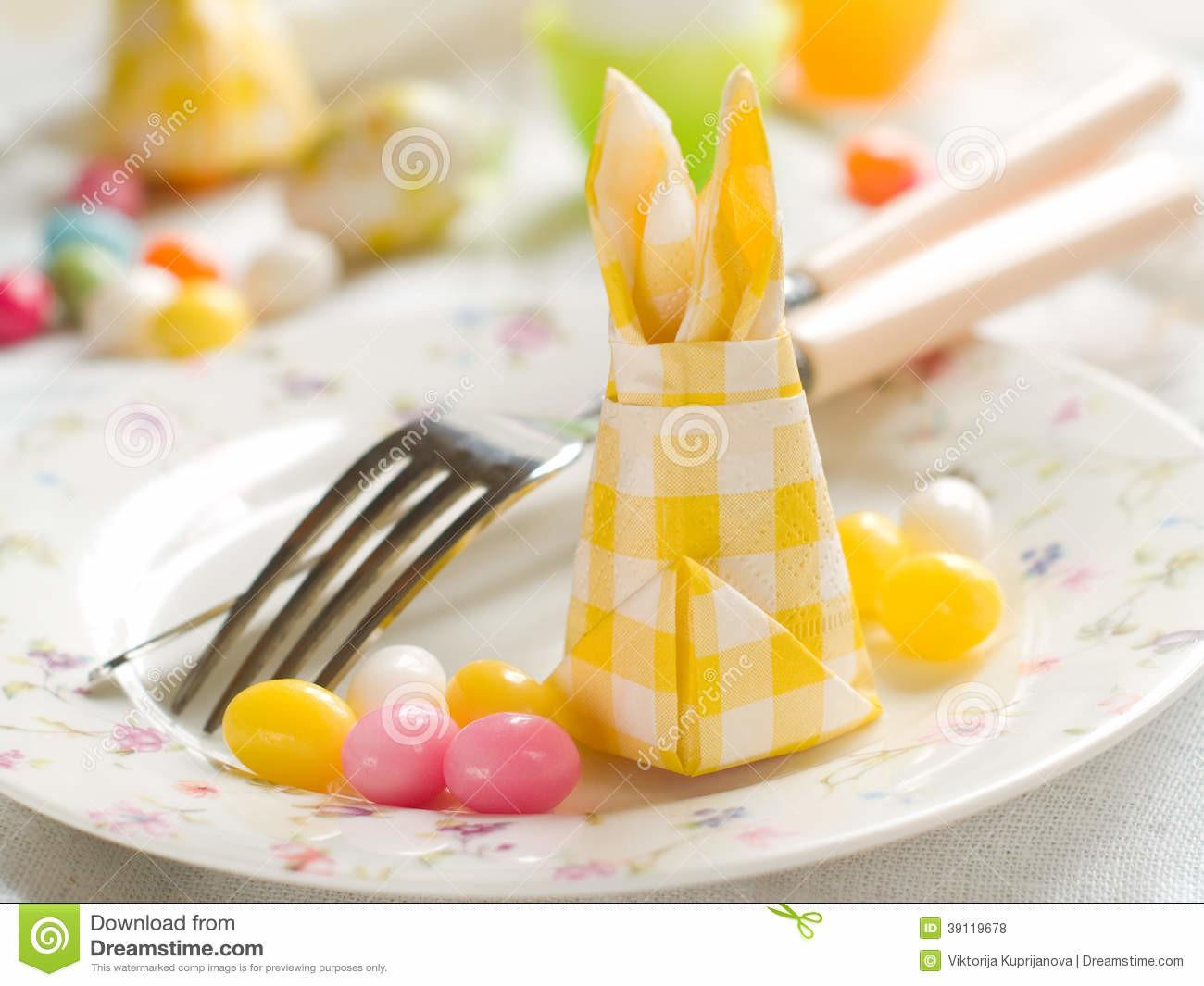 Easter Table Setting Stock