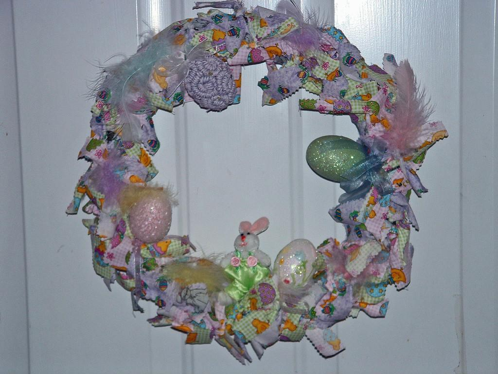 Easter Wreath Made Tied Fabric Strips
