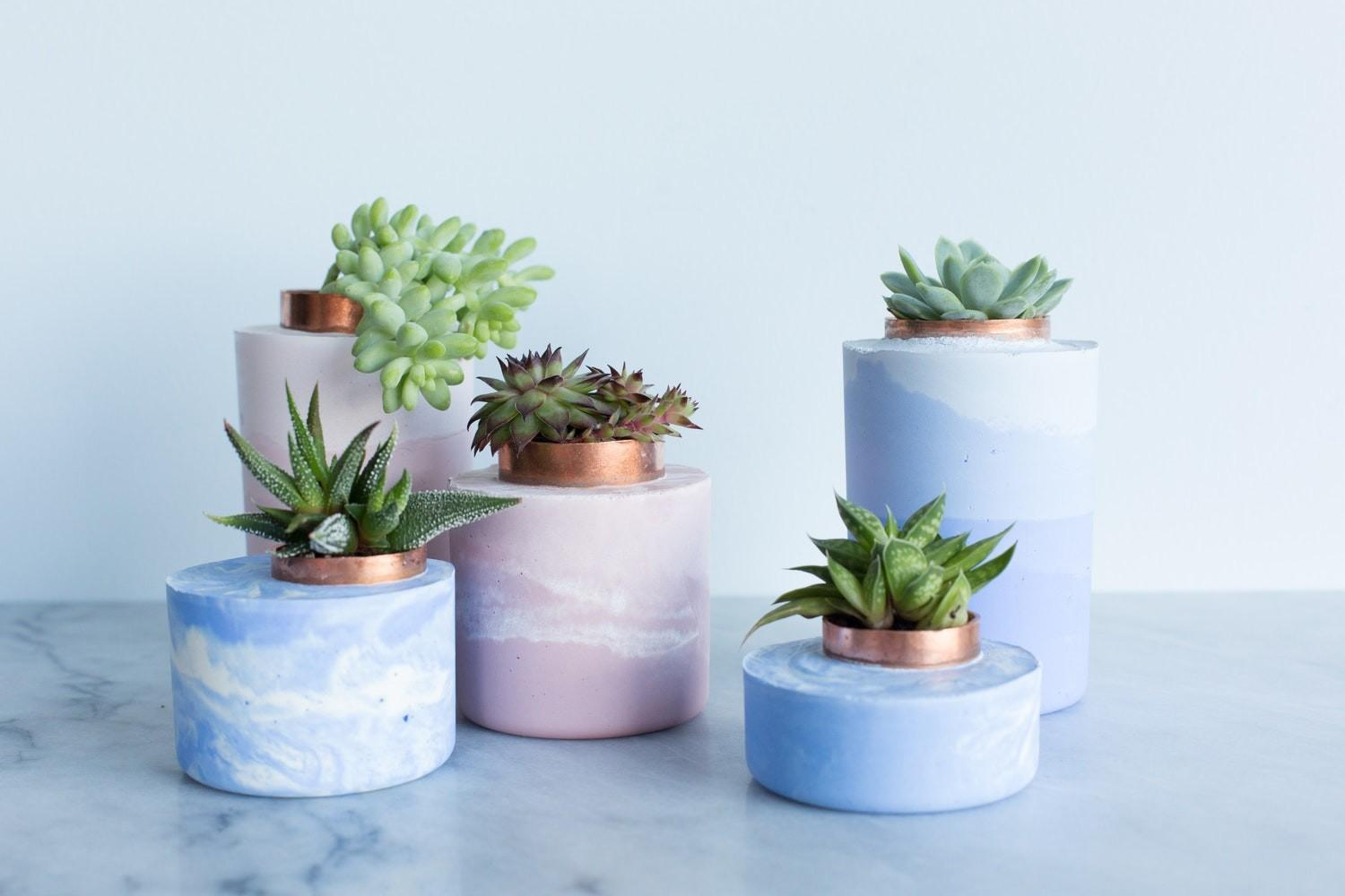 Easy Cool Diy Make Marbled Ombre Concrete Planters
