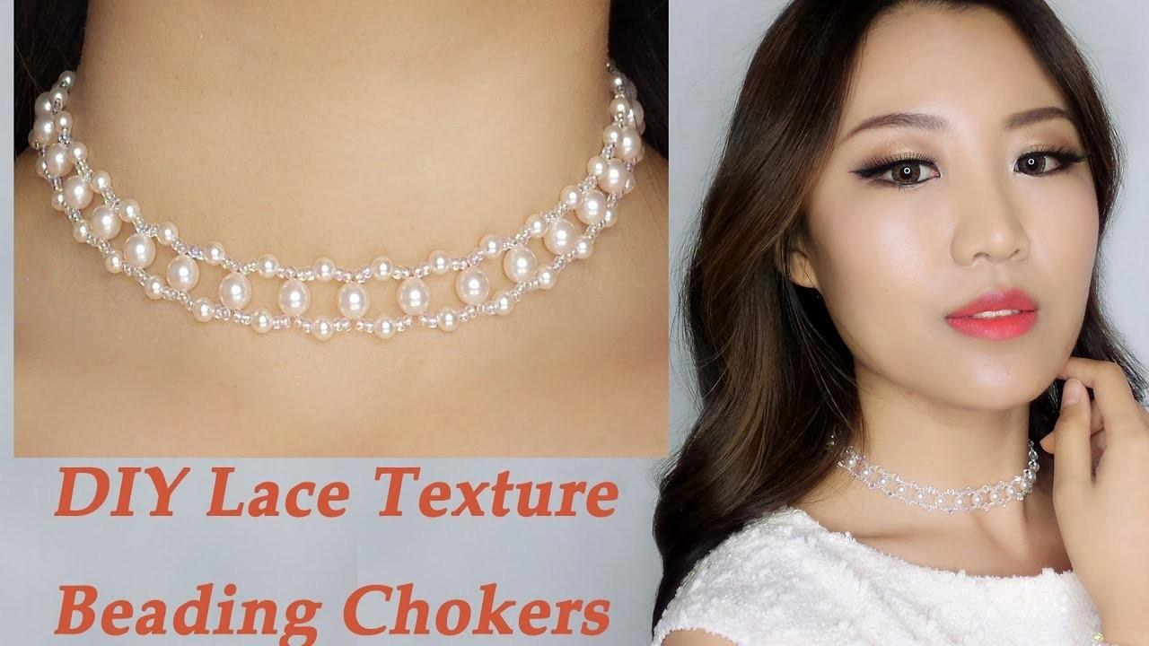 Easy Diy Pearl Crystal Beading Choker Necklace