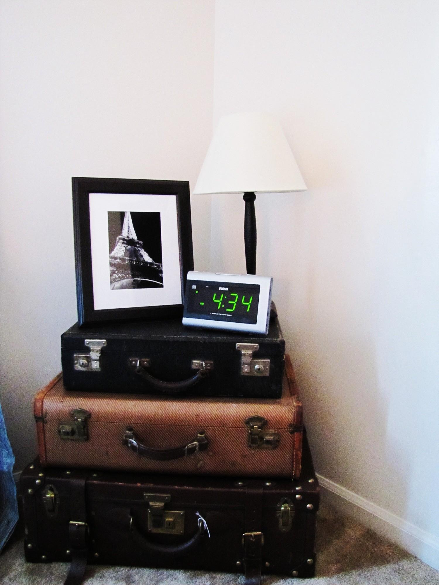 Easy Diy Stacked Suitcase Nightstand Small Bedroom