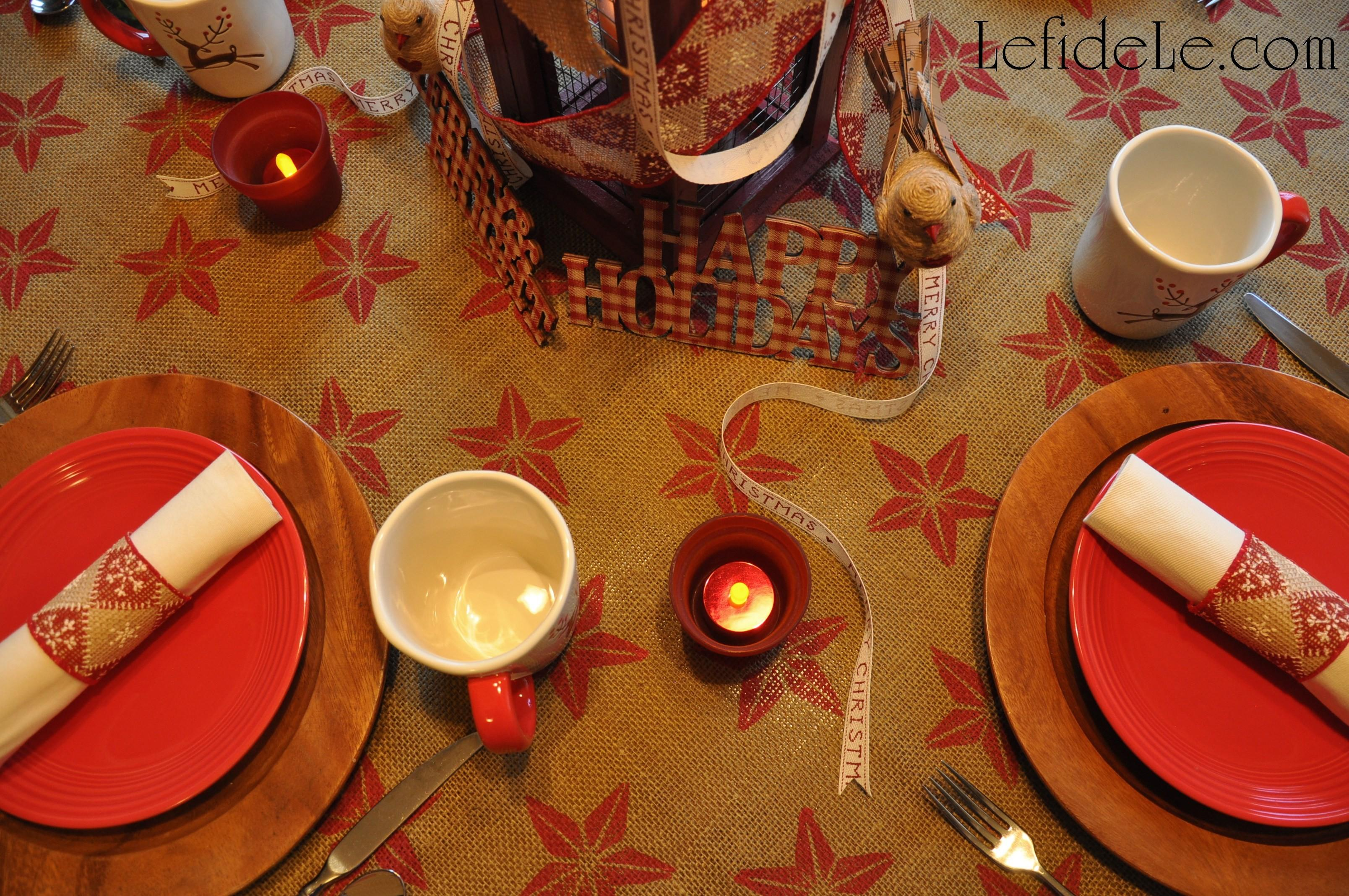 Easy Diy Stamp Painted Tablecloth Holiday Ribbon Napkin
