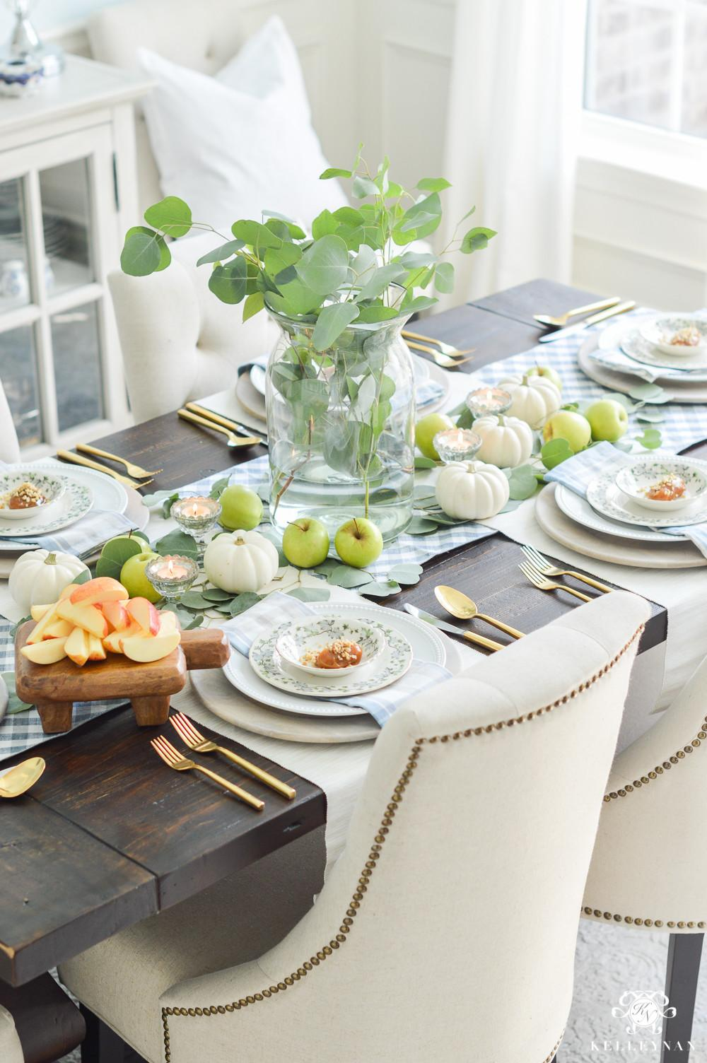 Easy Fall Table Idea Caramel Apple Place Settings