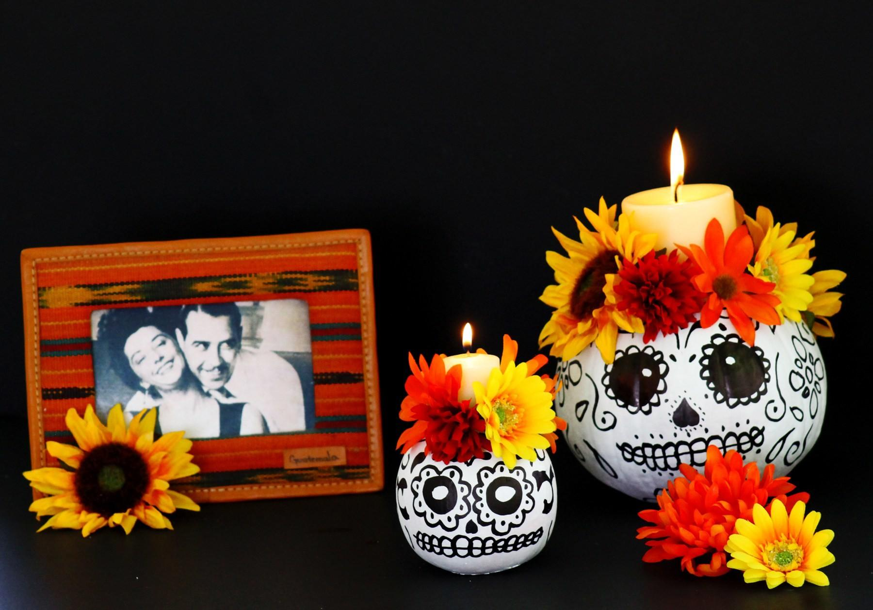 Easy Make Day Dead Skull Pumpkin Candle Holders