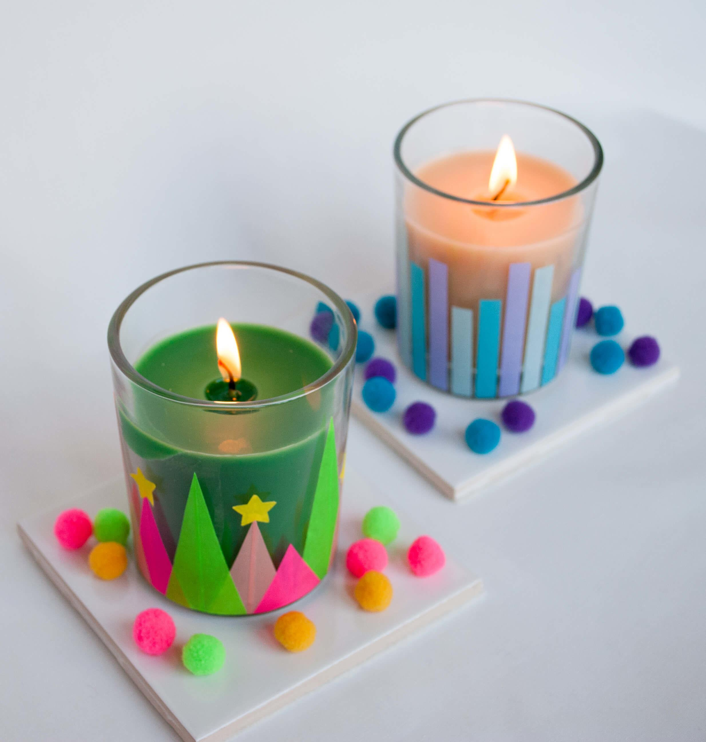 Easy Modern Whimsical Holiday Candles Diy Merriment