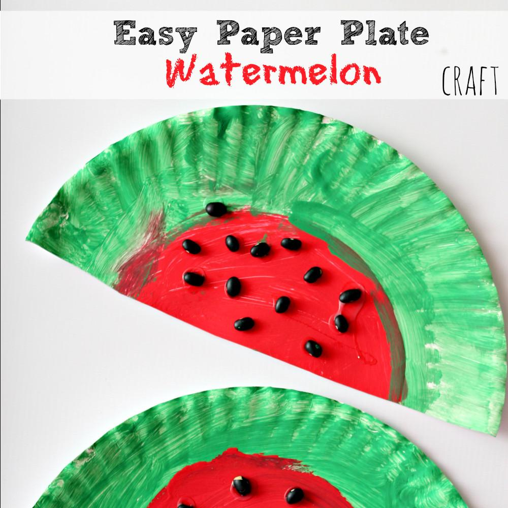 Easy Simple Paper Plate Watermelon Kids Craft Project
