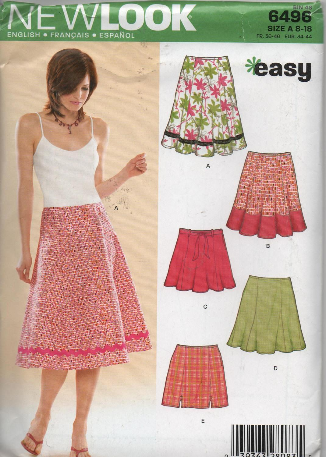 Easy Skirt Pattern New Look Sizes English French Spanish