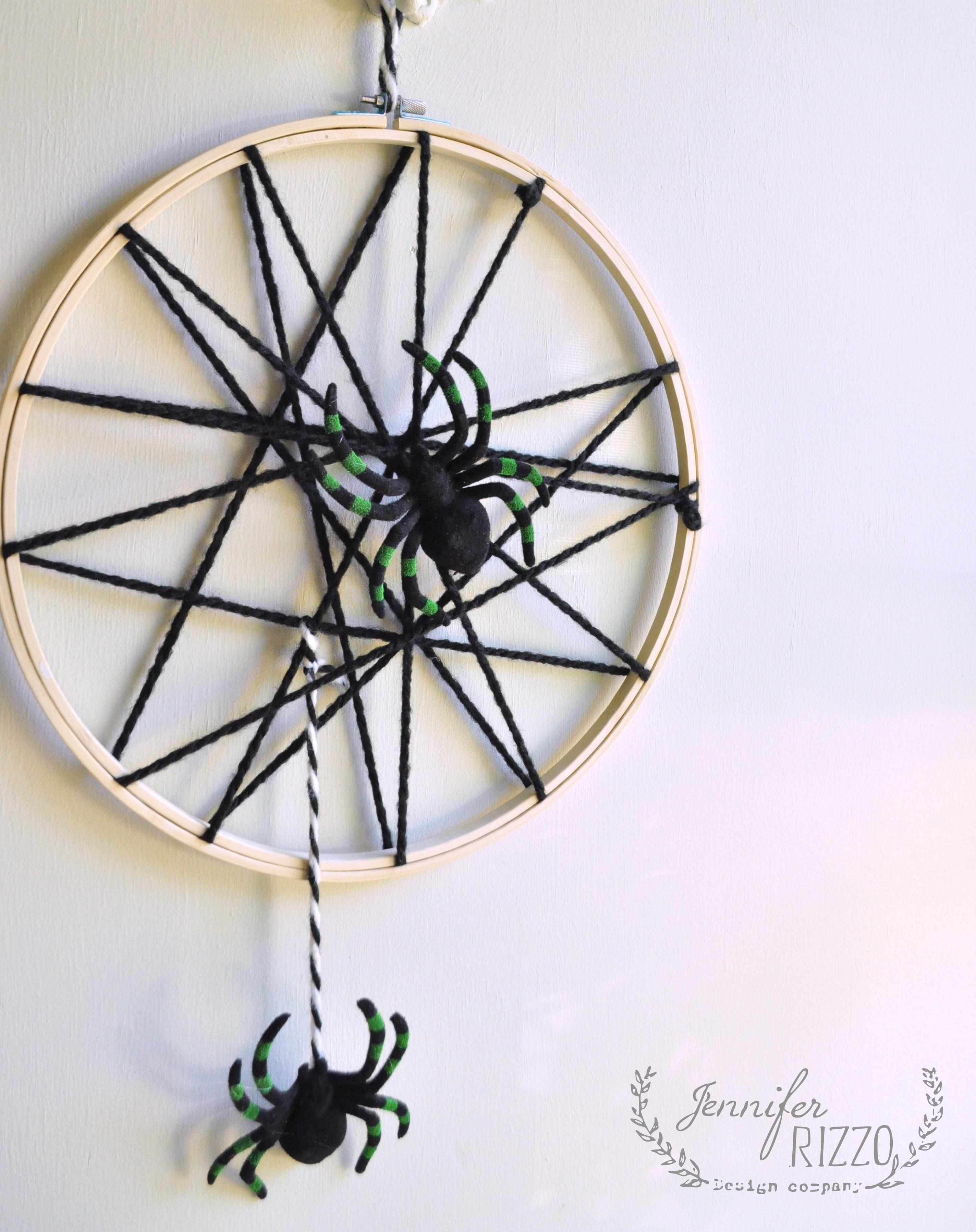 Easy Spider Web Halloween Decor Embroidery Hoop Hanging