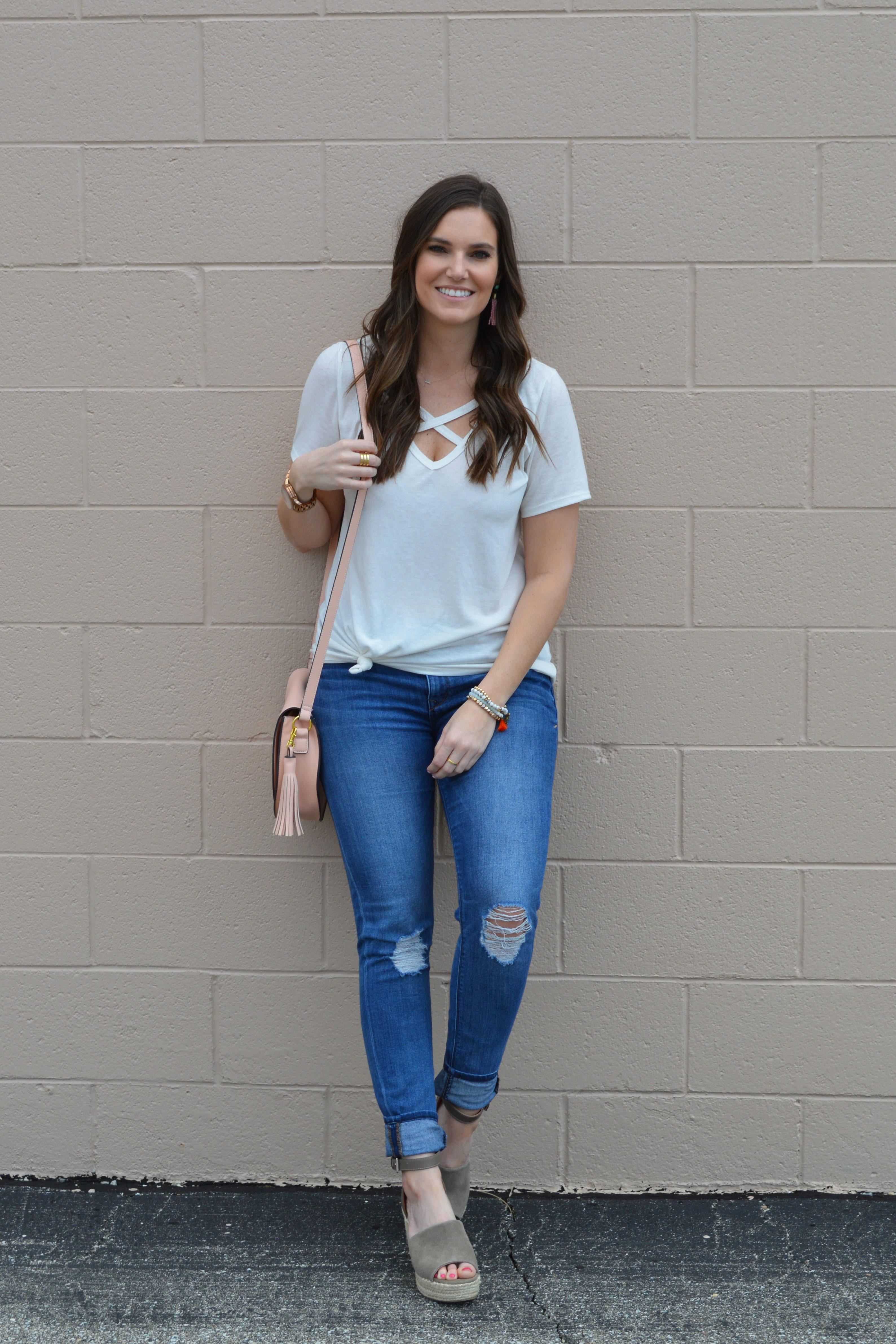 Easy Spring Outfit White Tee Sarah Brithinee