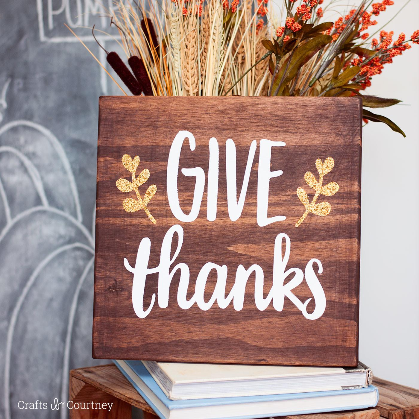 Easy Stained Give Thanks Sign Mod Podge Rocks
