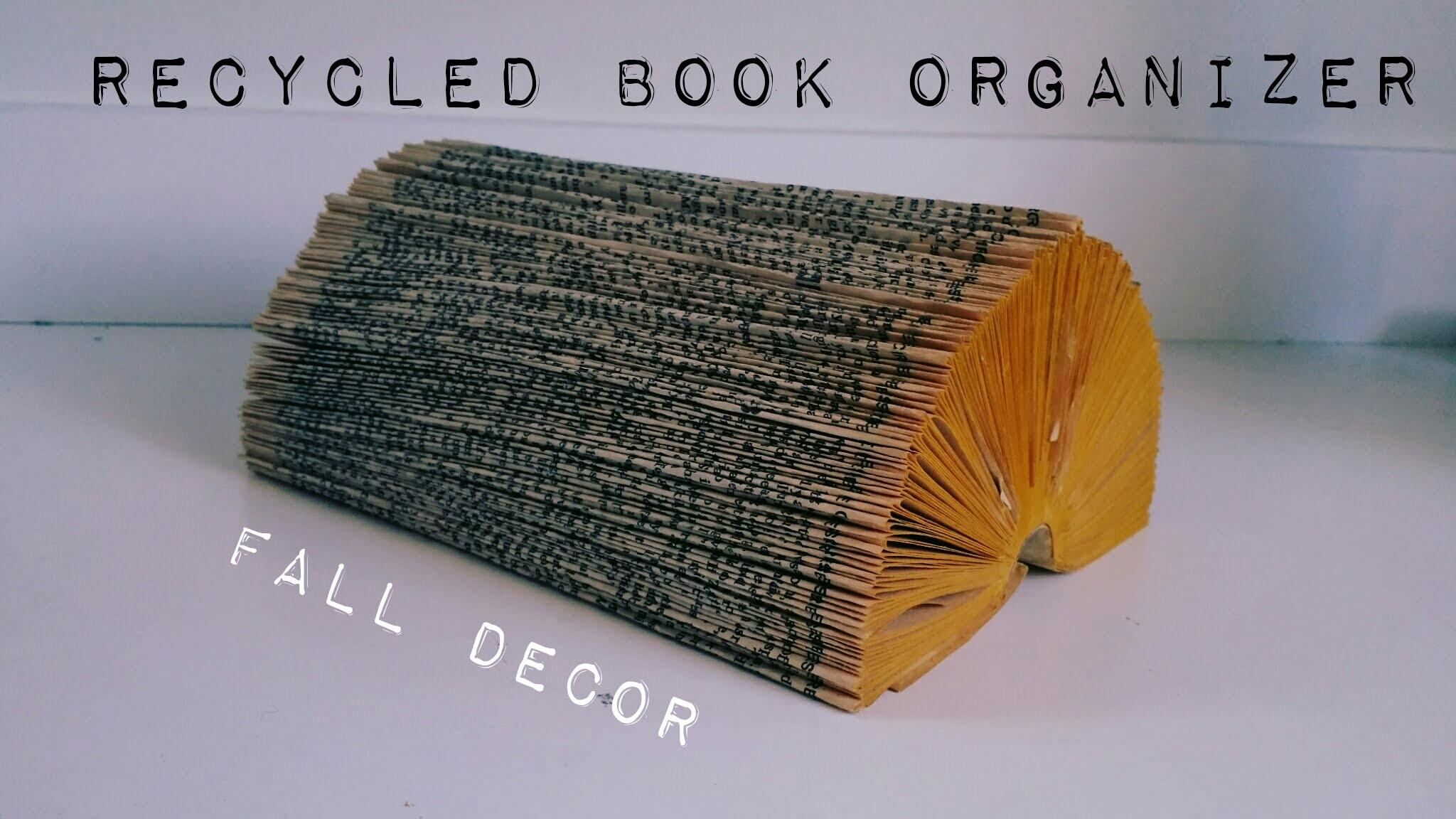 Easy Upcycled Book Organizer Log Ideas Fall