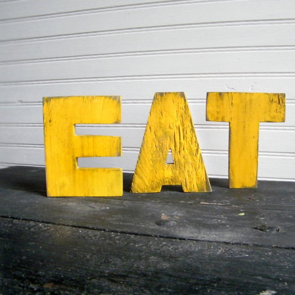 Eat Word Set Yellow Wood Letters Kitchen Slippinsouthern