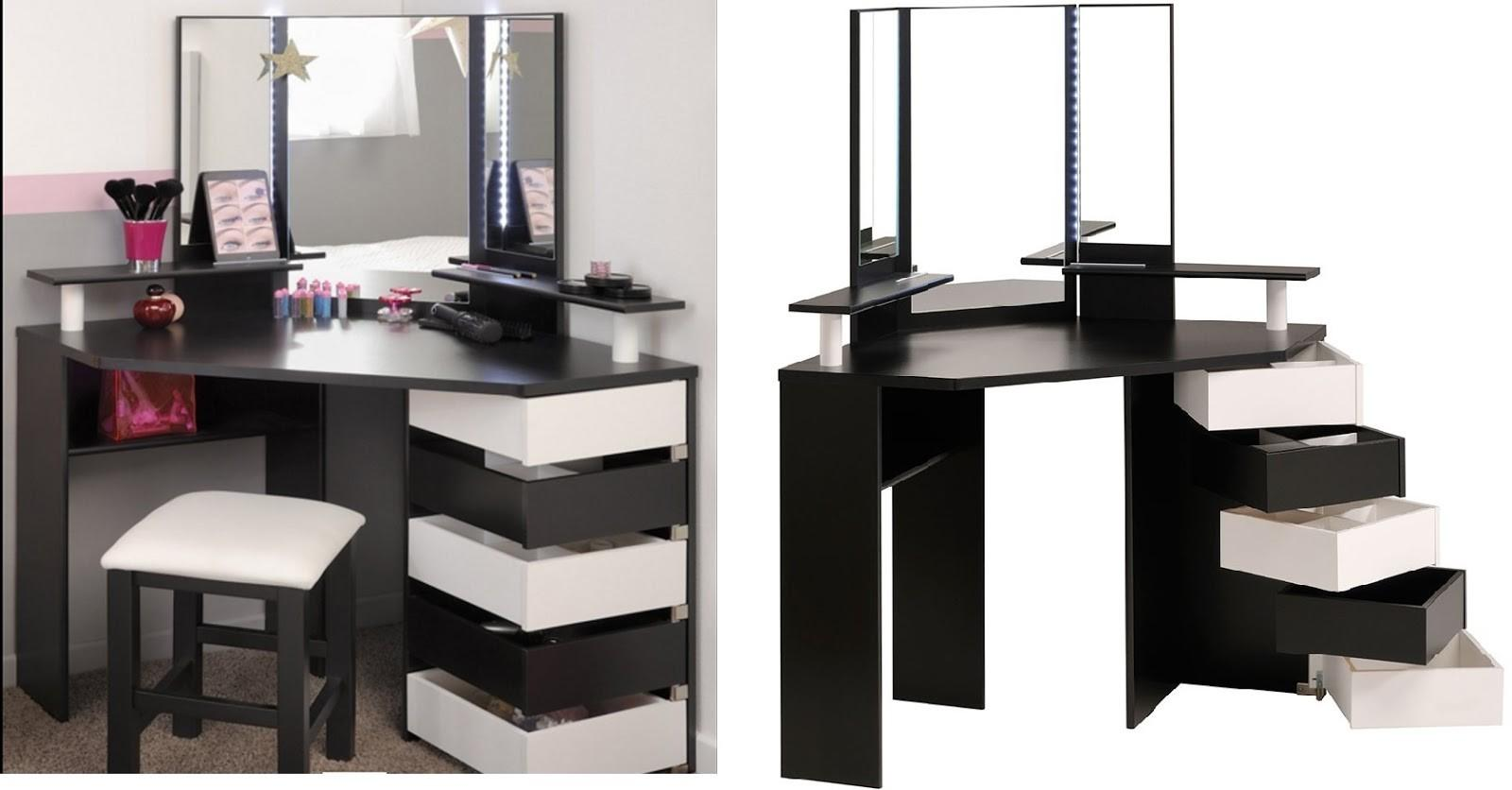 Eccentric Modern Black White Industrial Small Vanity Desk
