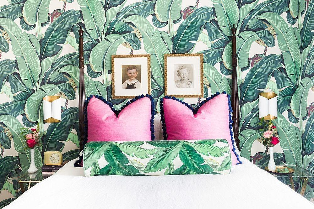 Eclectic Bedroom Tropical Style Leafy Wallpapered