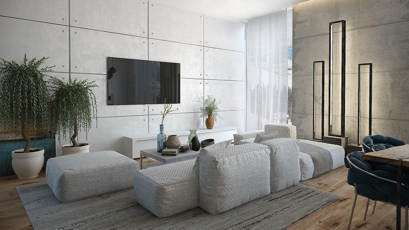 Eclectic Modern Apartment Layout Industrial