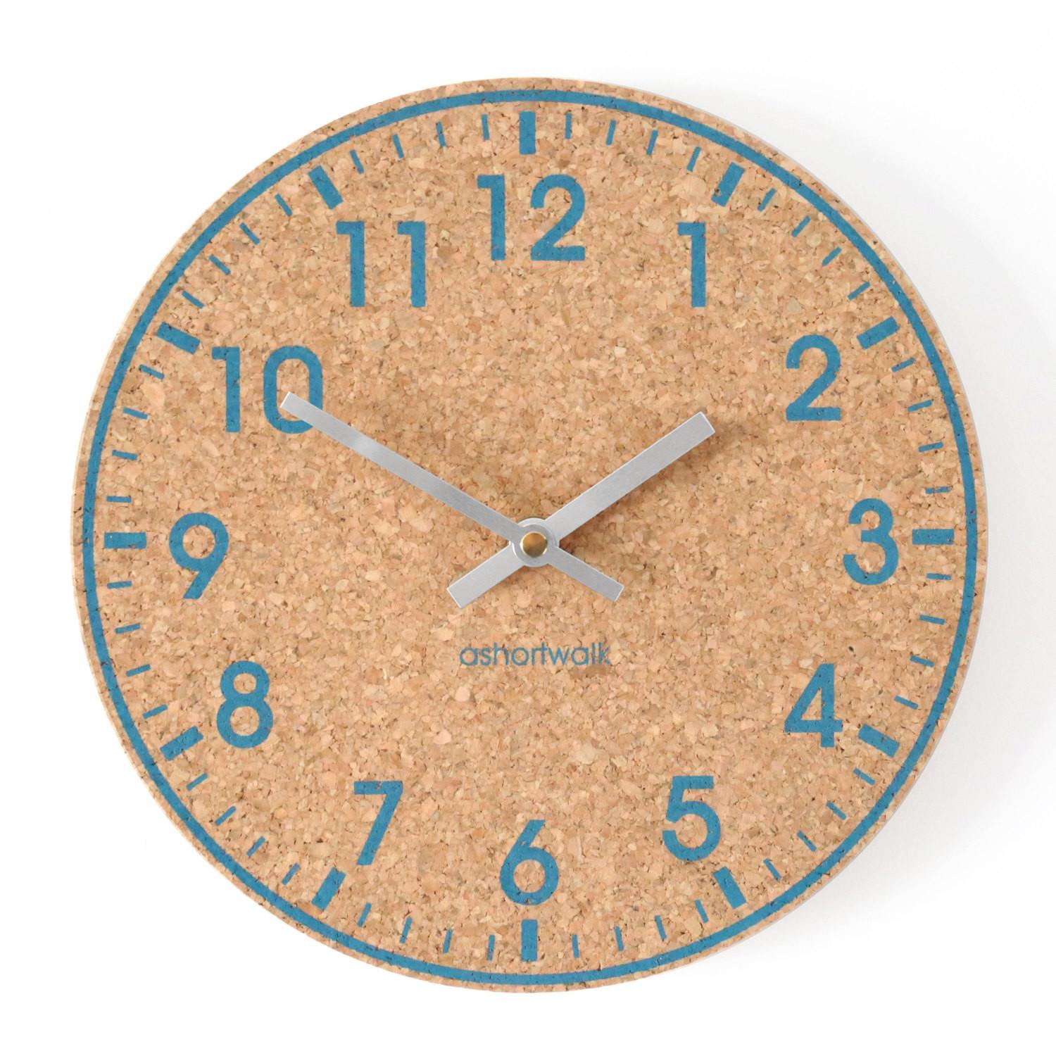 Eco Cork Wall Clock Blue Silver Hands