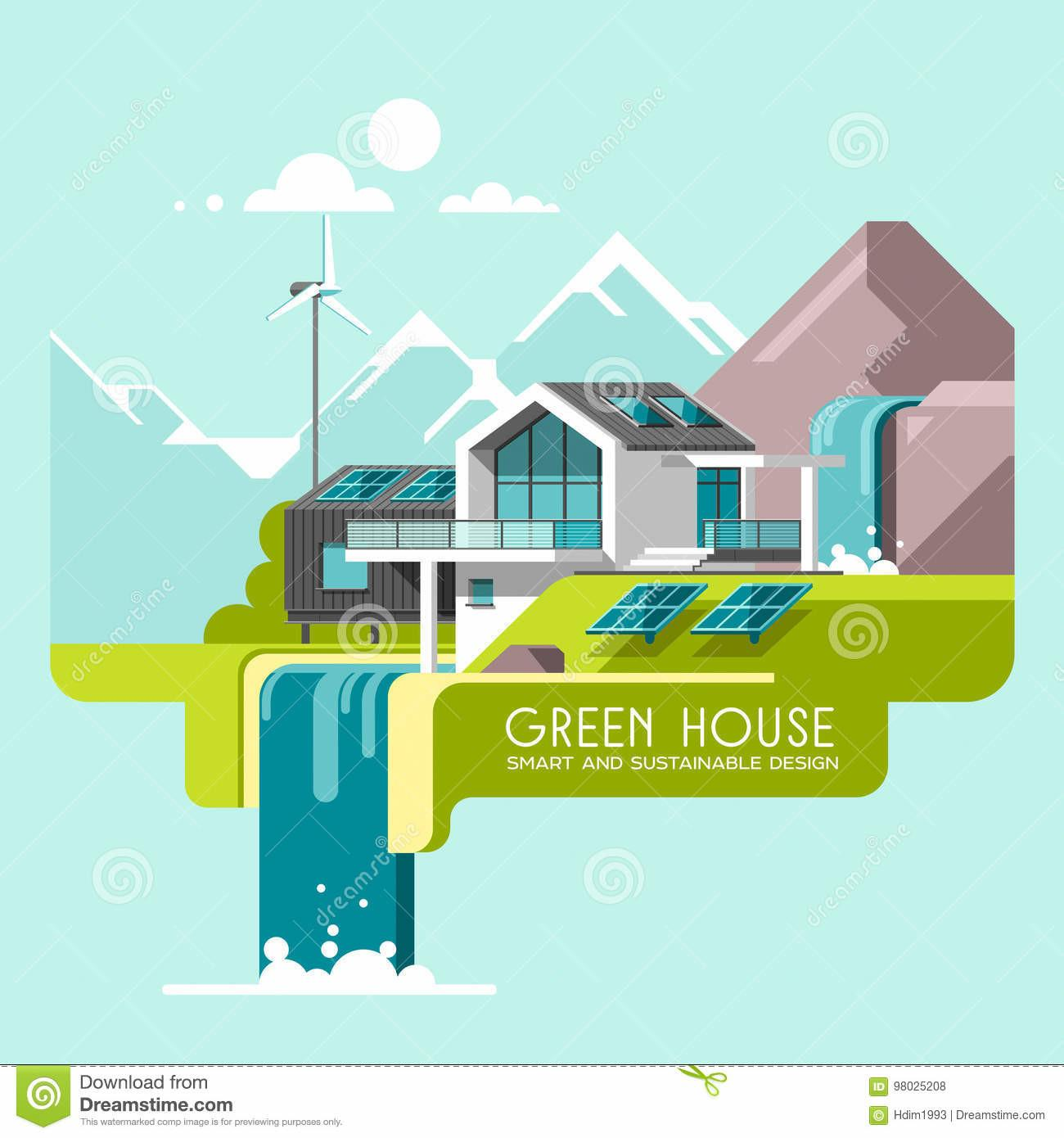 Eco Friendly Modern House Green Architecture Solar Panel