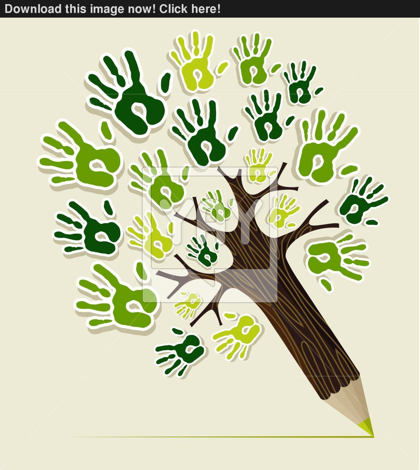 Eco Friendly Pencil Tree Hands Vector Yayimages