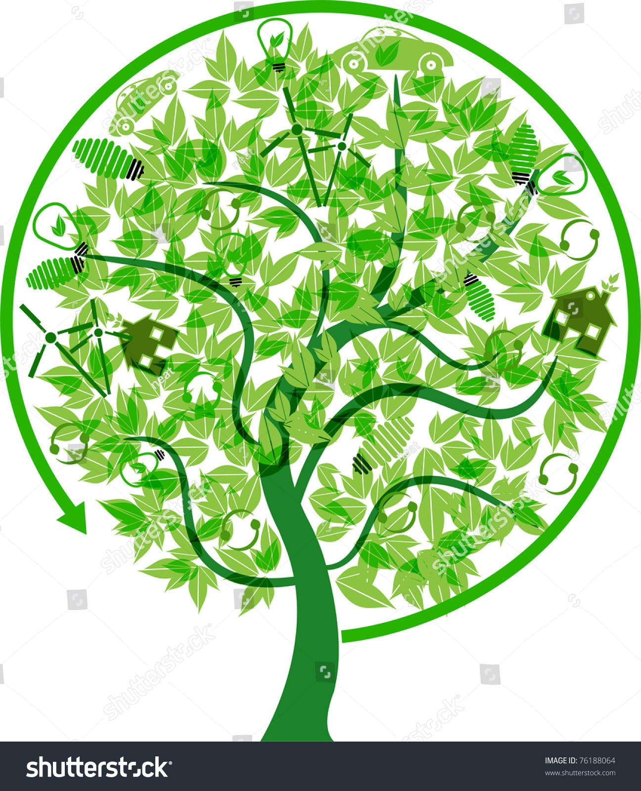 Eco Friendly Recycle Tree Concept Stock Vector