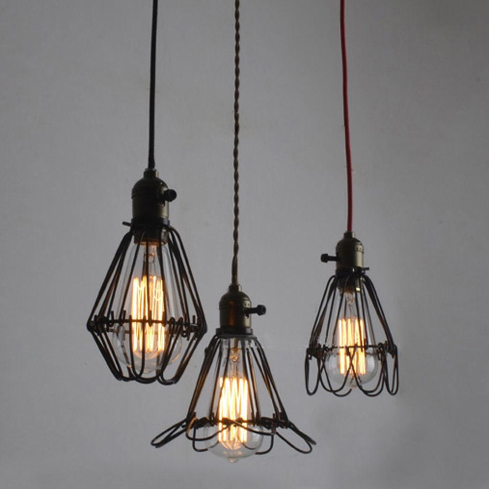 Edison Vintage Pendant Light Wire Cage Hanging Ceiling