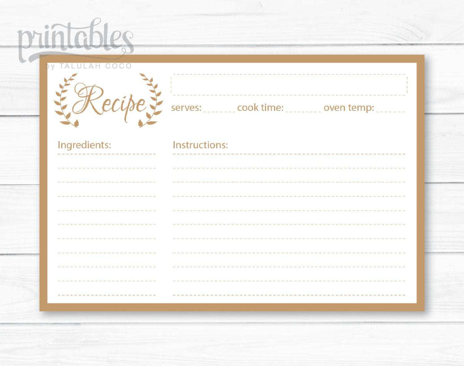 Editable Recipe Cards Kitchen Organization Brown