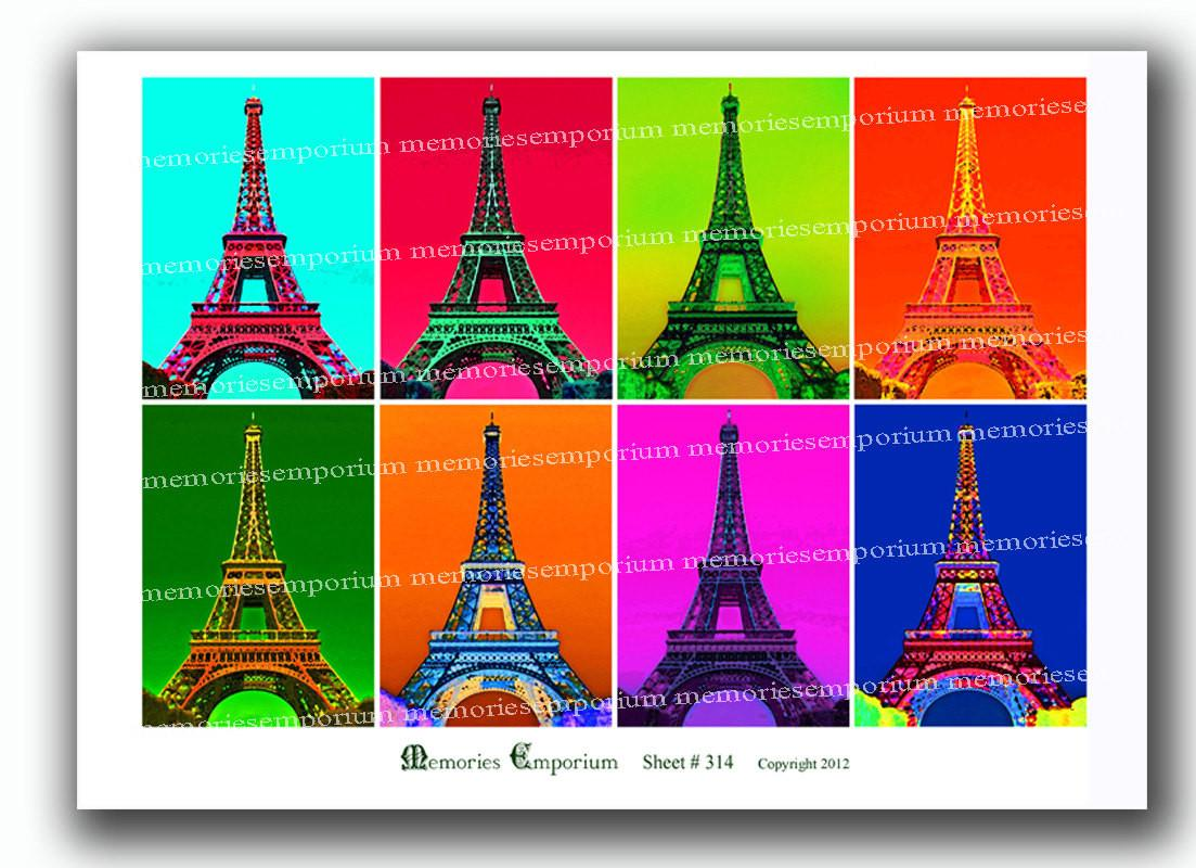 Eiffel Tower Pop Art Andy Warhol Style Psychedelic