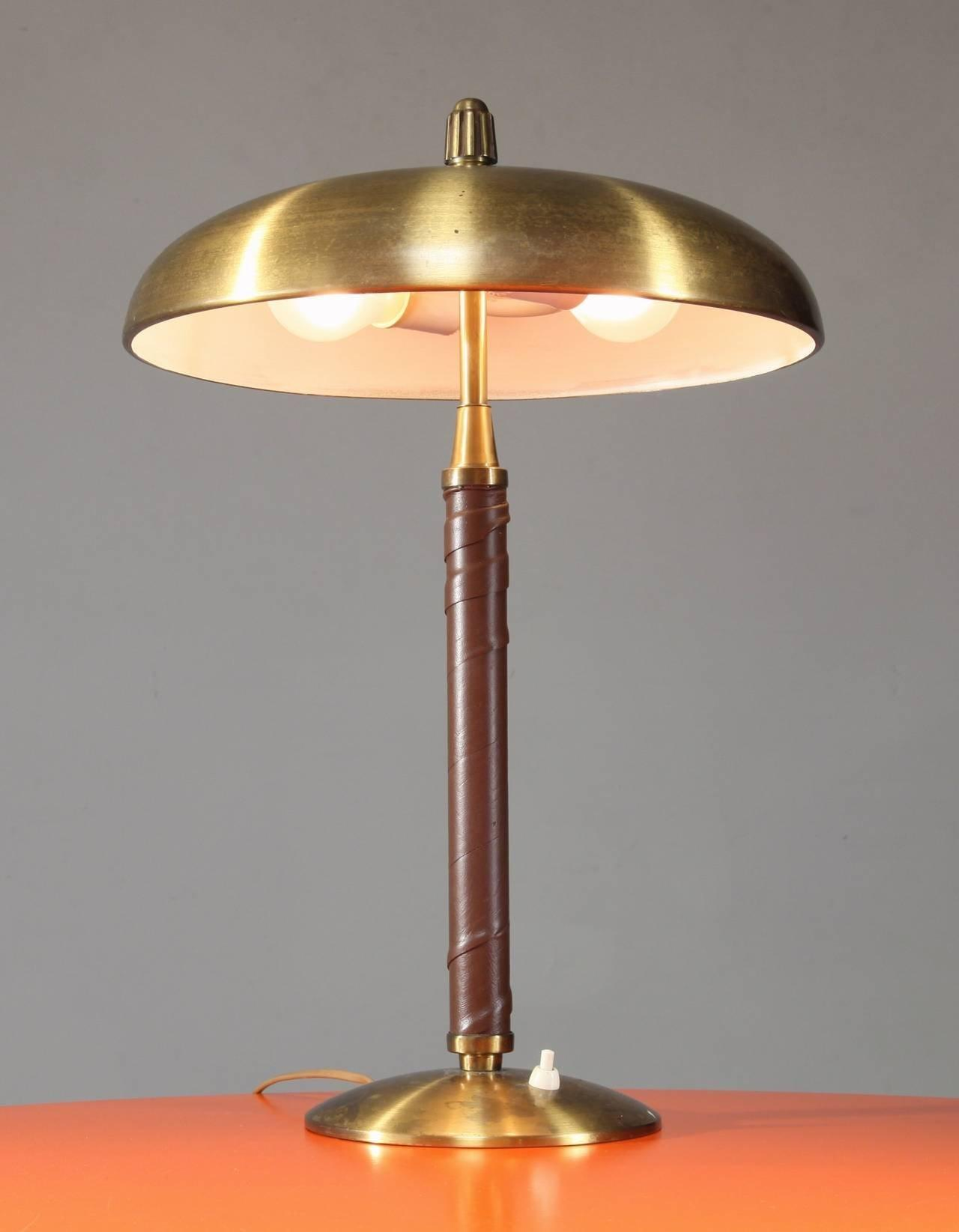 Einar Ckstr Brass Leather Table Lamp Sweden