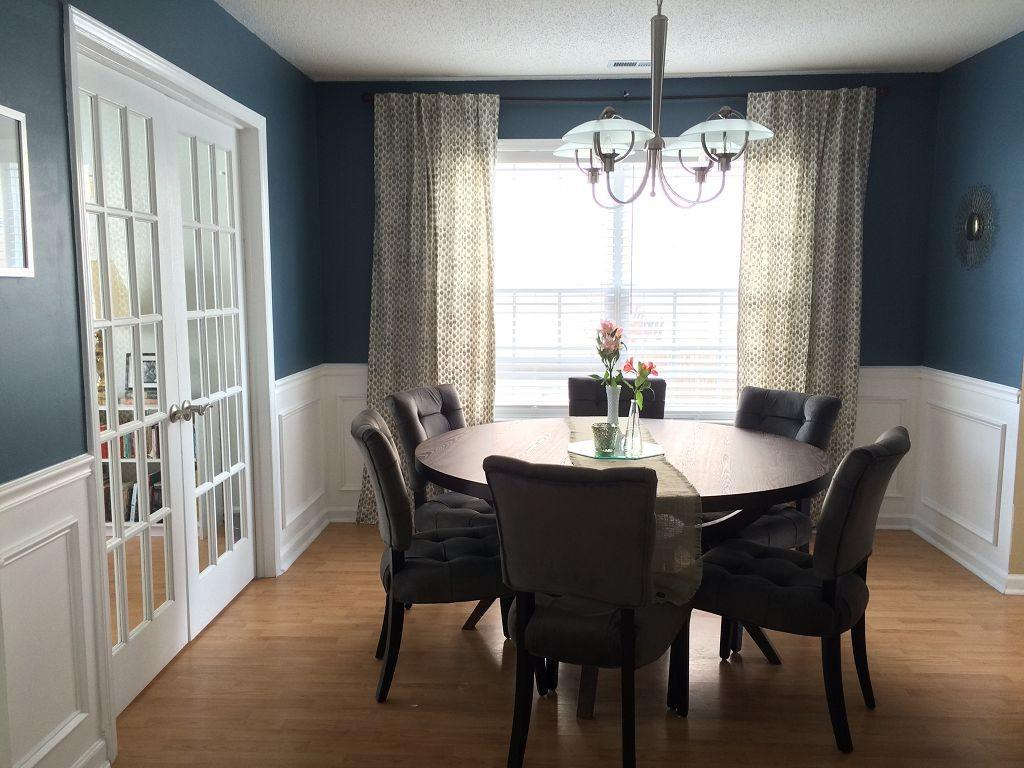 Elegant Blue Dining Room Front Window Decorated