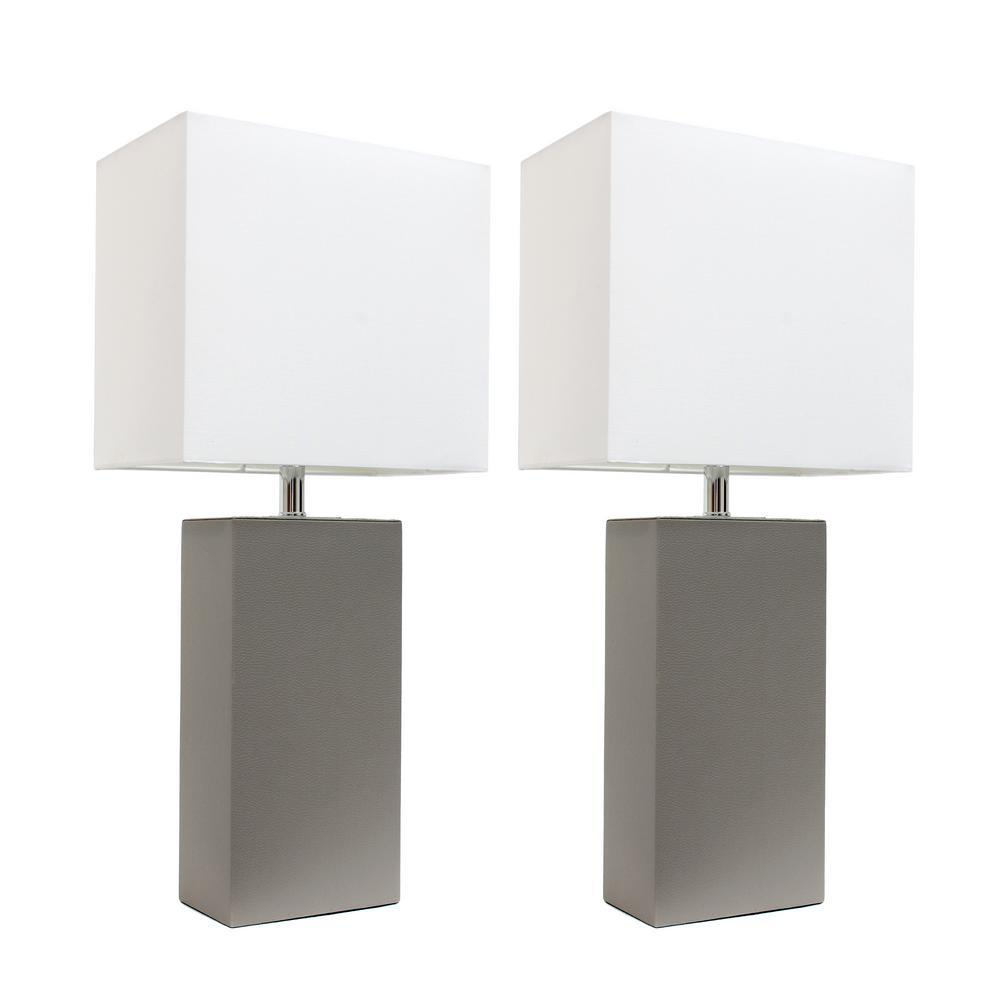 Elegant Designs Modern Gray Leather Table Lamps