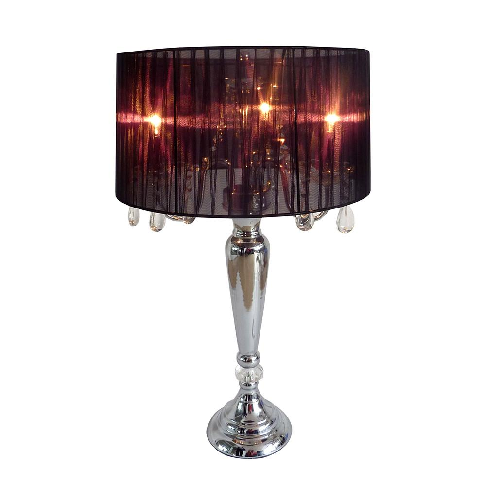 Elegant Designs Trendy Sheer Black Shade Table Lamp