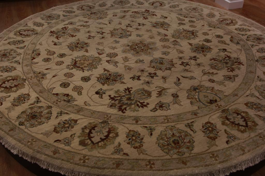 Elegant High End Floral Oriental Circle Rug Large Beige