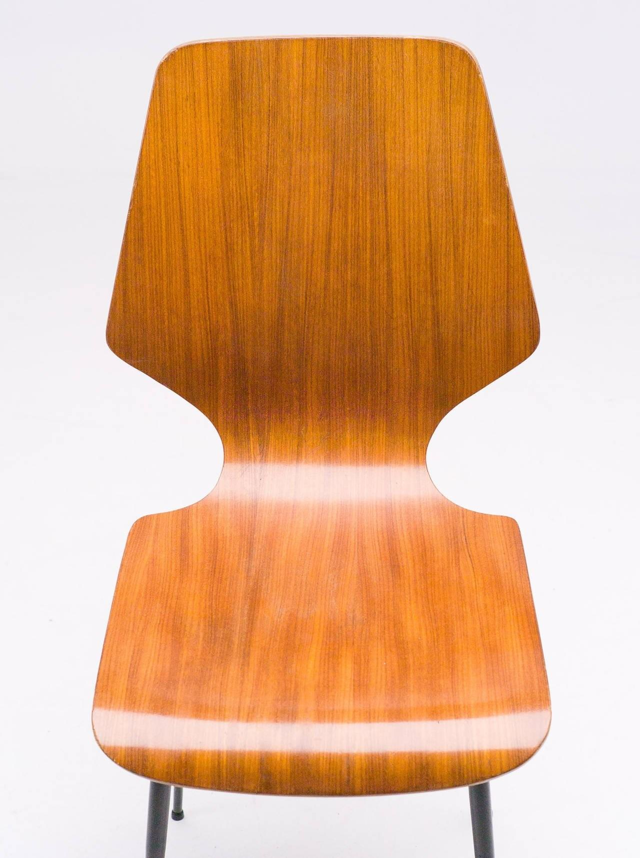 Elegant Italian 1960s Plywood Dining Chairs Attributed