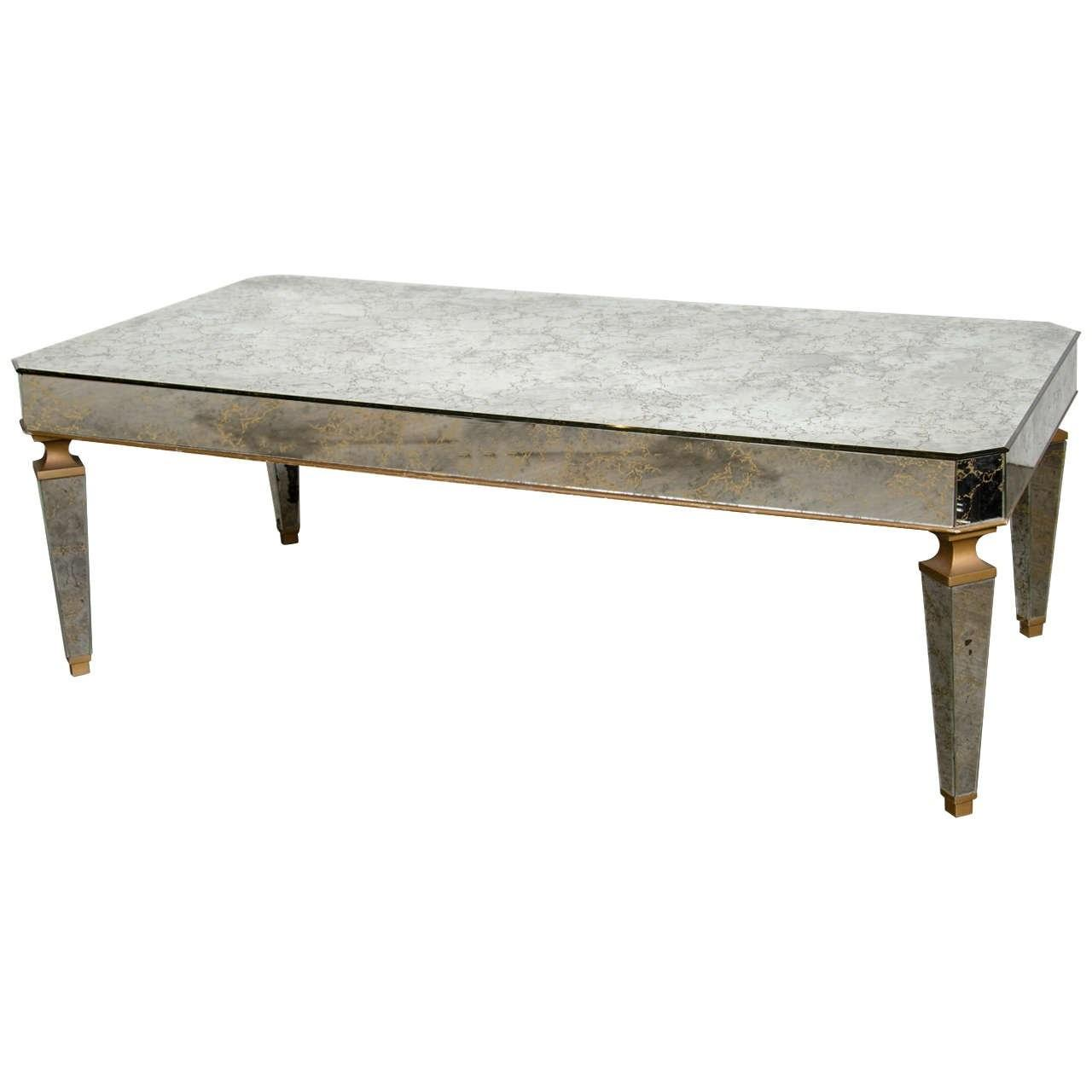 Elegant Mirrored Gilt Cocktail Table Manner