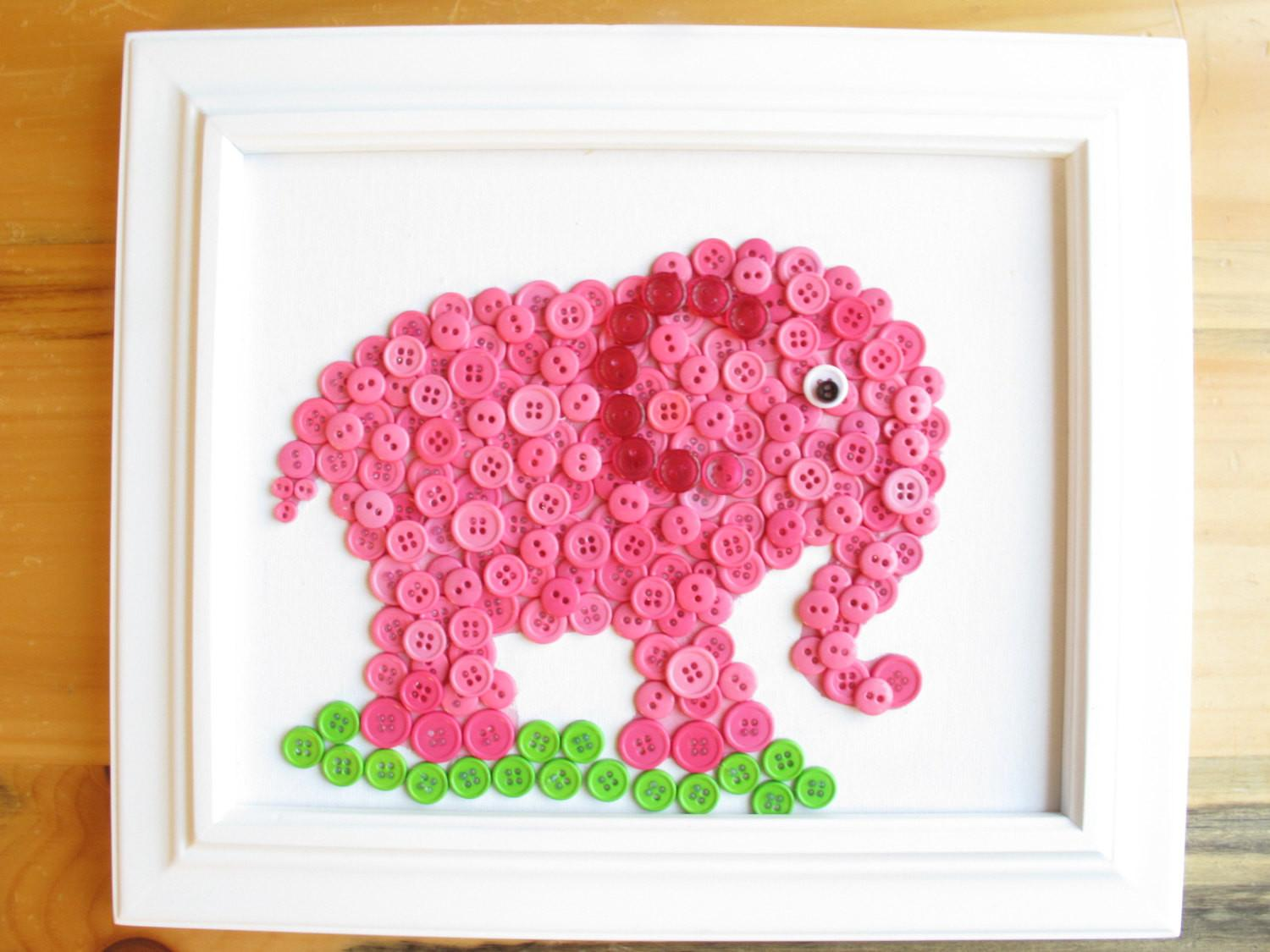 Elephant Button Animal Pink Canvas Panel
