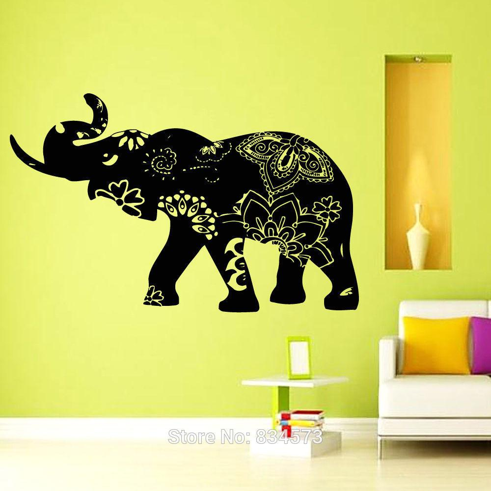 Elephant Decal Indian Yoga Wall Art Sticker Home Diy