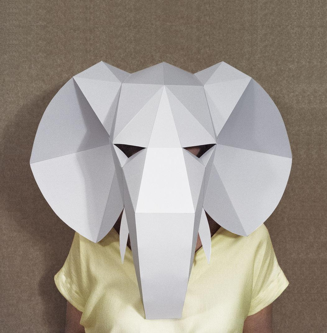 Elephant Head Mask Diy Paper Creation Pdf Pattern Printable