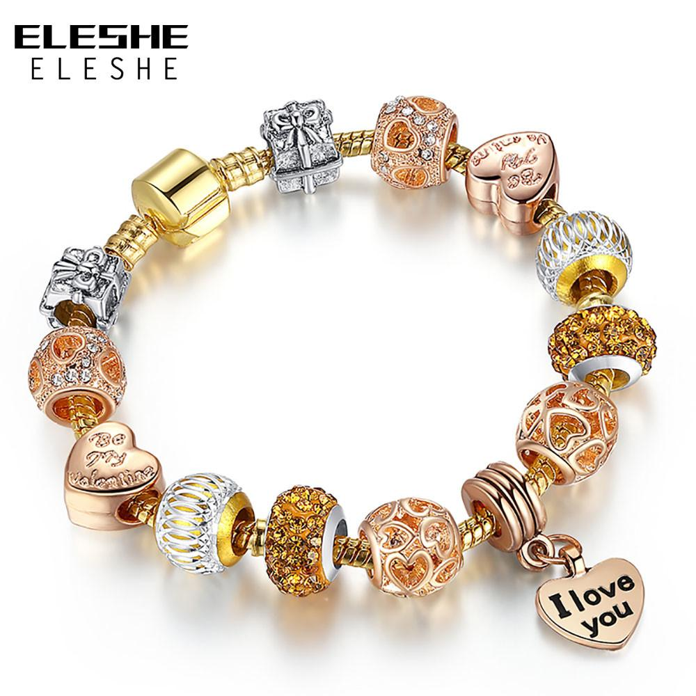 Eleshe European Charms Beads Gold Color Snake Chain