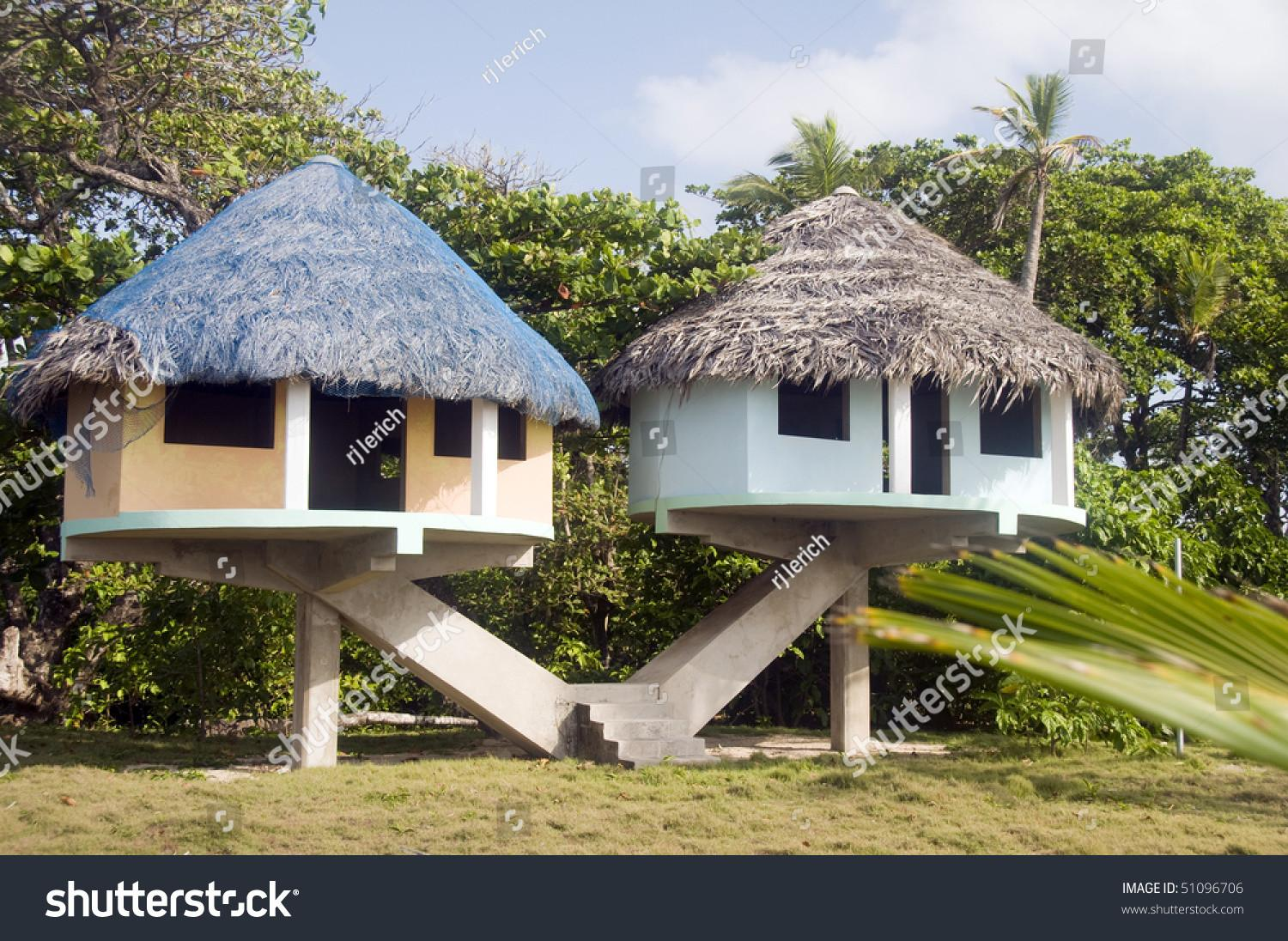 Elevated Beach Houses Thatched Roof Long Bay Corn