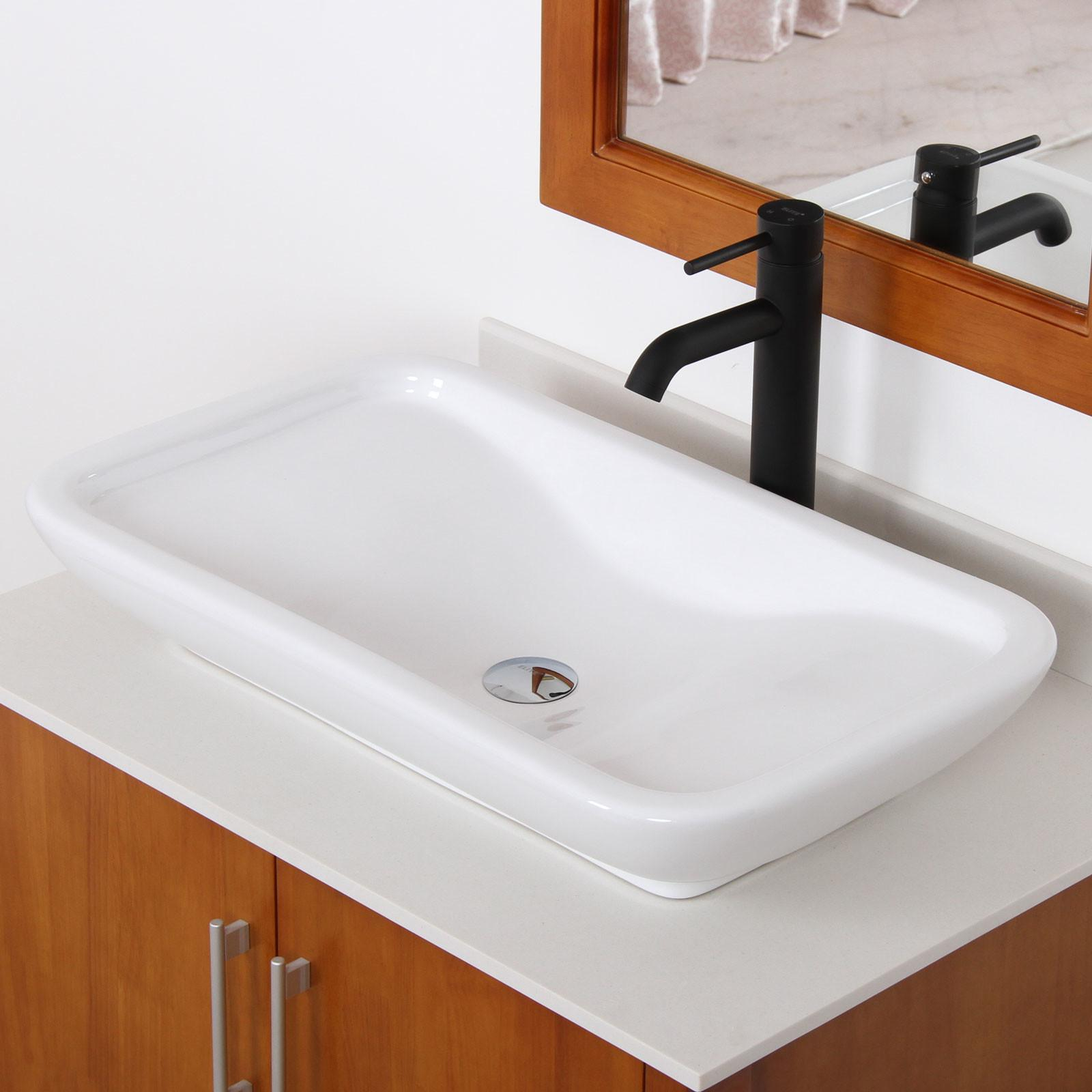 Elite Ceramic Bathroom Sink Unique Rectangle Design
