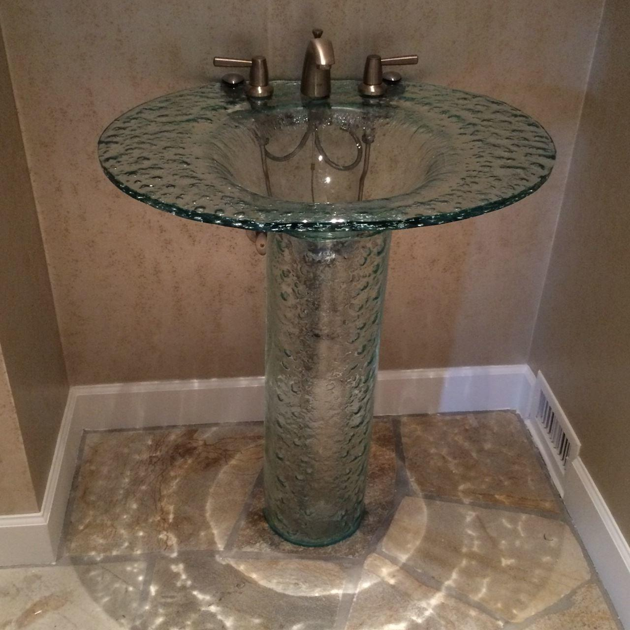 Elliptic Textured Glass Pedestal Sink Sinks
