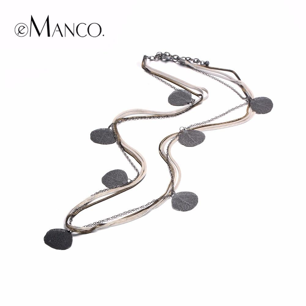Emanco Trendy Charms Long Necklaces Women Black Metal