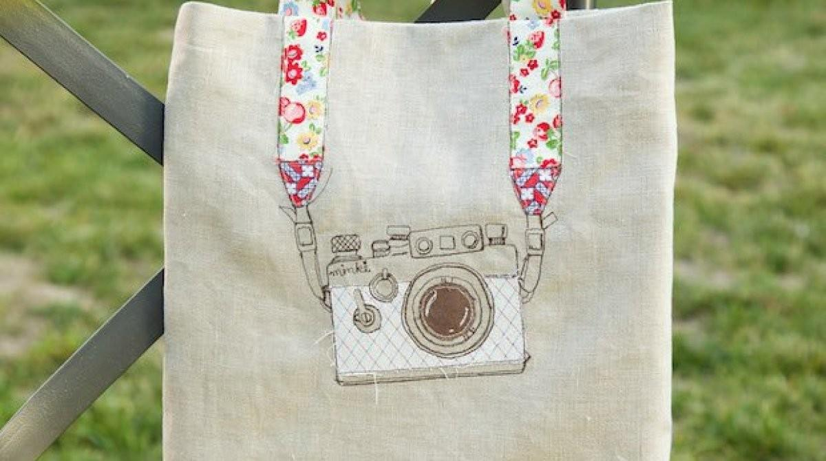 Embroidered Camera Tote Bag Make