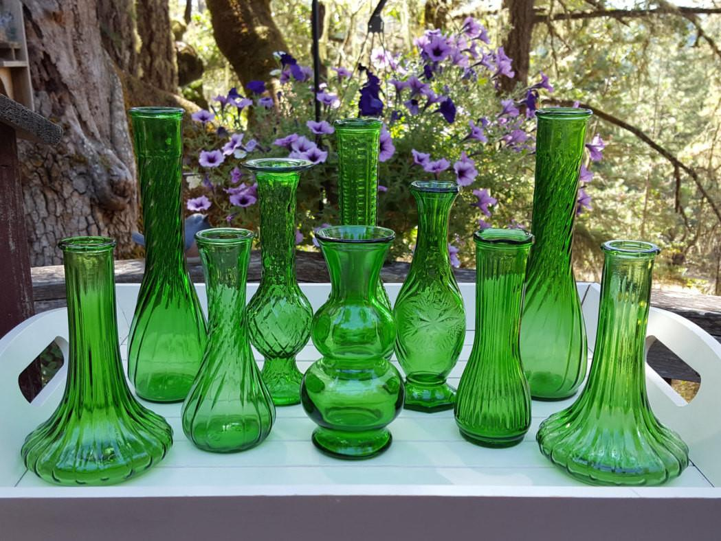 Emerald Green Bud Vases Wedding Decor Oak Hill Vintage