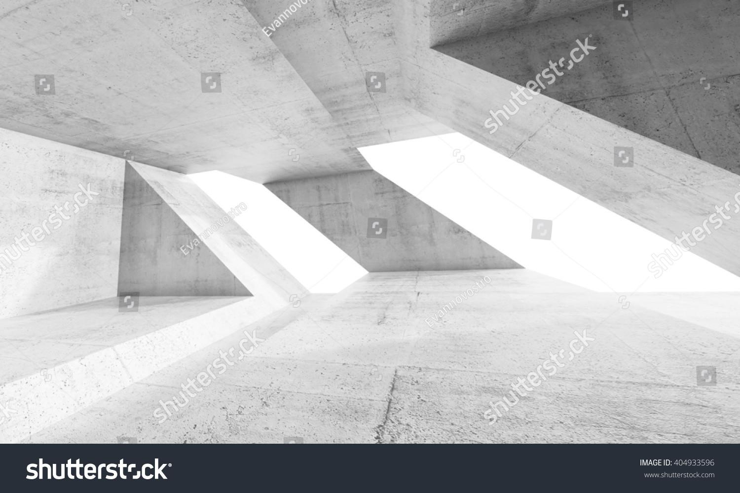 Empty Abstract White Concrete Interior Design Stock