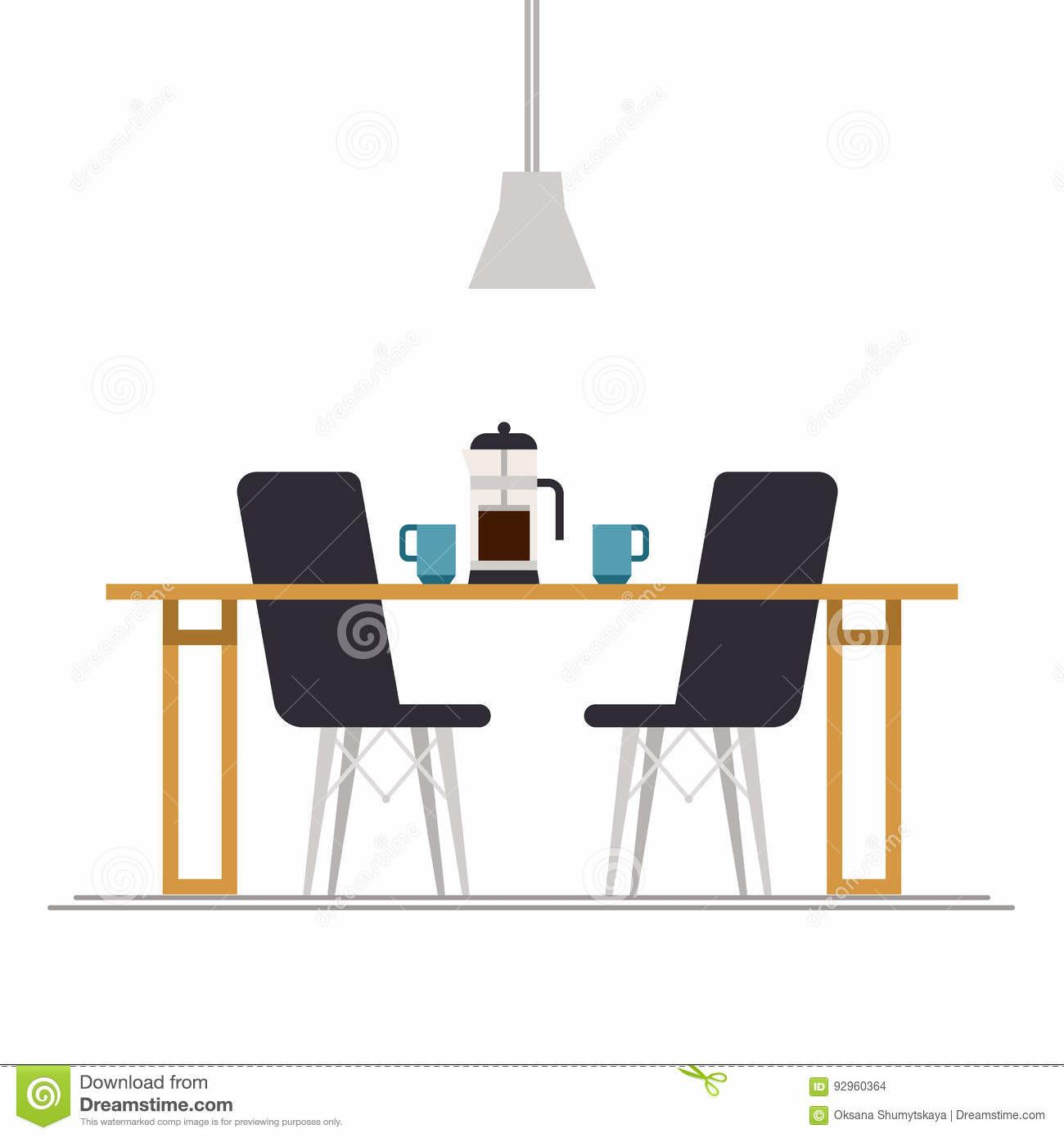 Empty Chair Office Table Hot Cup Tea Stock Vector