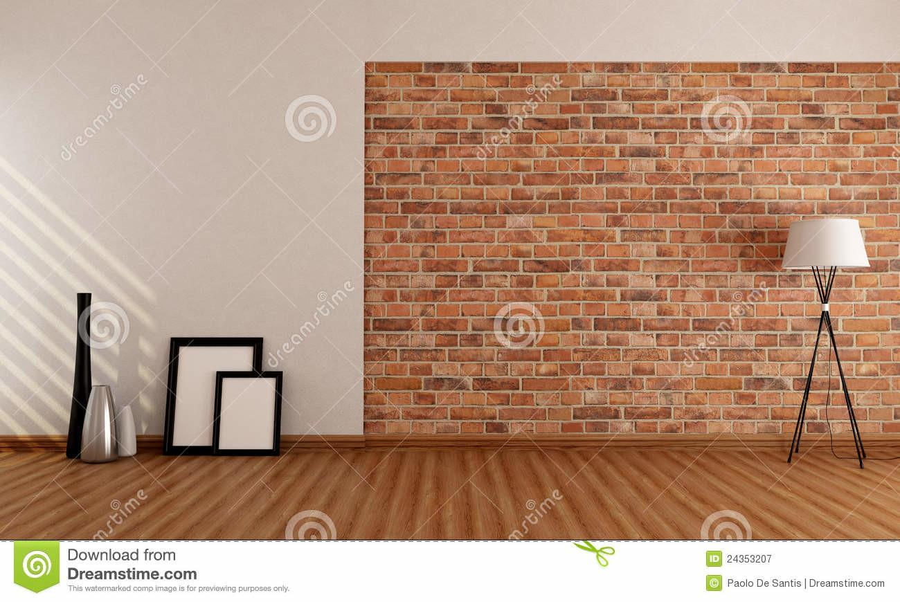 Empty Room Brick Wall Stock Illustration