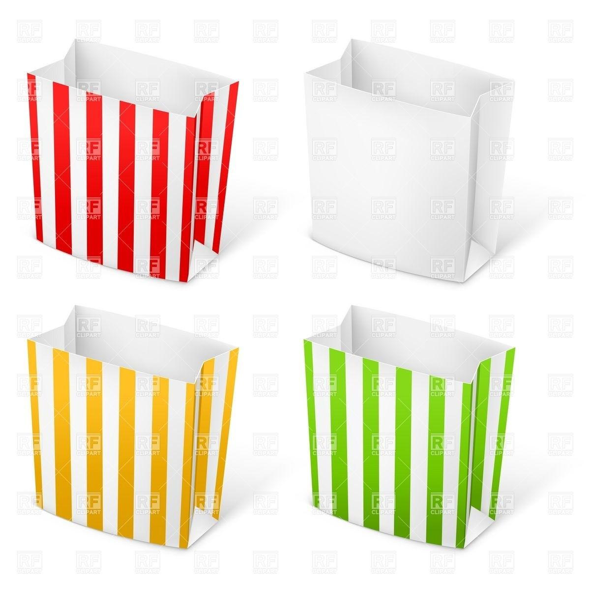 Empty Stripped Paper Bags Popcorn French Fries